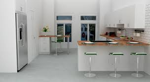kitchen built in refrigerator side by side windows white island