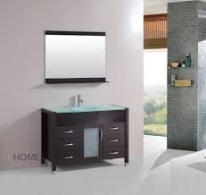 48 inch single vanity bathroom tempered glass sink cabinet combo