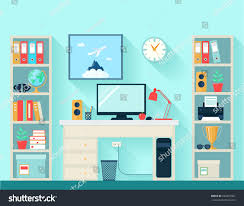 workspace room computer table bookshelves on stock vector
