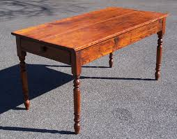 Antique American Country Pine Kitchen Table With Drawer C - Old kitchen tables