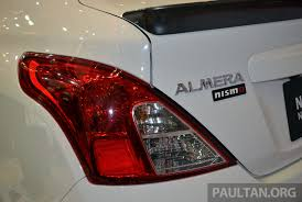 nissan almera tail light nissan almera nismo performance package launched at klims13