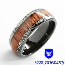 size 16 mens wedding bands mens wedding band black tungsten ring koa wood inlay comfort