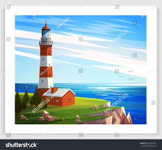 seascapes vector illustration lighthouse rock house stock vector