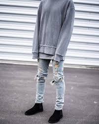 Ripped Denim Jeans For Men Mens Destroyed Skinny Jeans Oasis Amor Fashion