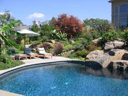 Backyard Landscaping With Pool by Modern Inground Swimming Pool With Superb Rock Decoration For