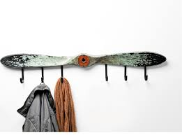 wall mount 6 black iron coat hanger with distressed propeller