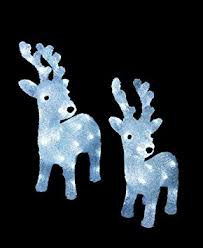 Christmas Garden Decorations Uk by Set Of 2 Led Light Up Christmas Acrylic Reindeer Garden
