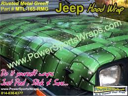 jeep vinyl wrap riveted metal green jeep wraps jeep wrangler jeep hood wrap