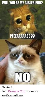 Denied Meme - will you be my girlfriend pleeaaaaase no denied join grumpy cat