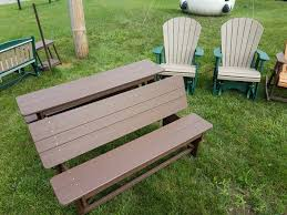 half picnic table eco friendly recycled plastic poly lumber