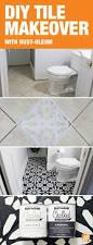 diy painted stencil bathroom floor chalk paint clutter and