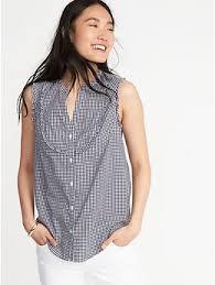 sleeveless ruffle blouse sleeveless ruffle trim gingham top for navy