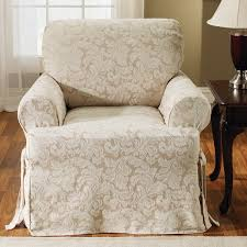 Slipcovered Arm Chair Sure Fit Scroll Classic T Cushion Armchair Slipcover U0026 Reviews