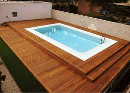 Ground Pool Deck Ideas from Wood for Relaxation Area at Home