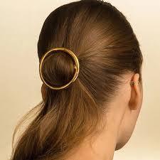 barrette hair fashion plain barrette gold metal circle barrette hair clip