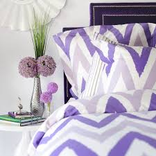 purple chevron and pinstripe bedding includes duvet shams