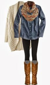 long denim shirt long cozy sweater fluffy scarf things to wear