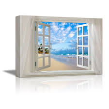 wall26 com art prints framed art canvas prints greeting wall26 canvas prints wall art glimpse into clear sea and tropical beach out of open window modern wall decor home decoration stretched gallery canvas