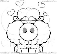 cartoon clipart of a black and white cute baby sheep in love
