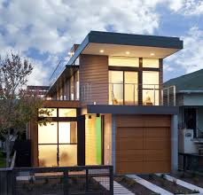 architecture contemporary house with luxury wood garage door and