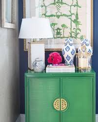 Kelly Green Door With Brass Hardware Interiors by Kelly Green Cabinet With Chinoiserie Inspired Vignette