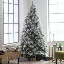 7 5 ft pre lit flocked pine needle full white christmas tree