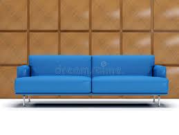 blue leather sofa and boiserie stock image image 5654881