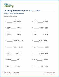 grade 5 division of decimals worksheets free u0026 printable k5