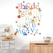 alphabet wall stickers stickerscape ilrated animal alphabet wall decal decor alphabet