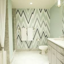 blue and green print bathroom wallpaper design ideas