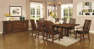 mission style dining room set 5 dining table set in golden brown finish by coaster 105451