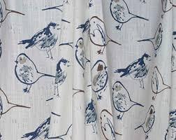 Bird Print Curtain Fabric Toile Fabric Etsy