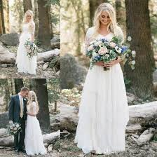 non traditional wedding dresses with sleeves discount 2018 country bohemian forest wedding dresses lace