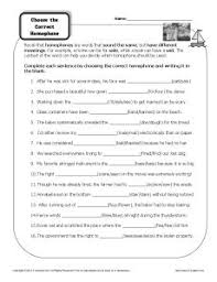 choose the correct homophone printable worksheet