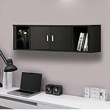 amazon com topeakmart wall mounted floating media storage cabinet