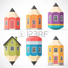 set of colorful pencil houses royalty free cliparts vectors and