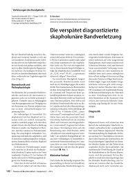 G Stige Sch E K Hen Die Verspätet Diagnostizierte Skapholunäre Bandverletzung Pdf