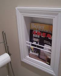 Furniture In The Bathroom Built In Magazine Rack In The Bathroom With White Trims Useful