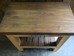 solid oak butchers block kitchen island dark oak top