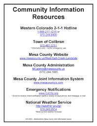 Care Provider Resume Collbran Community Information Resource U2013 Updated List Mcmudslide