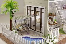 diy wooden dolls house handcraft miniature kit pair apartment