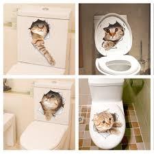 Cute Home Decor Aliexpress Com Buy Cat Vivid 3d Look Hole Wall Sticker Bathroom