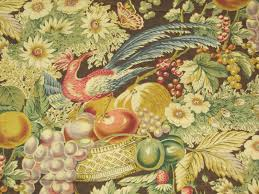 pheasant with fruit floral vintage fabric 1 yard home decor sharon