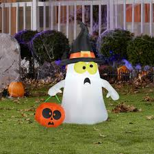 halloween inflatable ghost 3 5 u0027 airblown inflatable ghost with witch hat by gemmy american