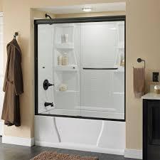 glass door on bathtub delta simplicity 60 in x 58 1 8 in semi framed sliding tub door