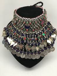 big choker necklace images Vintage big afghan kuchi jingle bells chain boho bib ats choker jpg
