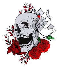 skull among roses