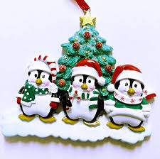 3 happy christmas penguins personalized christmas ornament