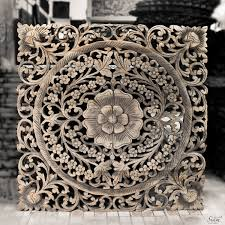 thai motif floral carved wood wall hanging siam sawadee