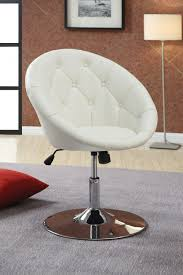 modern uphosltered white leather swivel desk chair with tufted